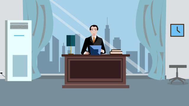 Executive office character scene flat style illustration llustration image