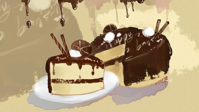 chocolate cake food dessert watercolor illustration llustration image illustration image