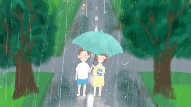 Campus couple romantic walk in the rain small fresh illustration, Campus, Couple, Walking In The Rain illustration image