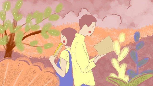 キャンパスの愛情の青春のカップルは唯美でロマンチックです イラスト素材 イラスト画像