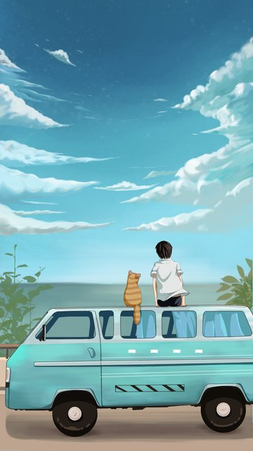 Teenager and cat looking up at the sky to see scenery, Car, Sky, Cat System illustration image