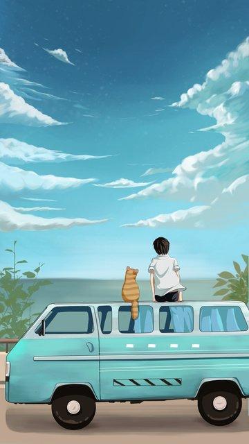 दृश्यावली देखने के लिए किशोर और बिल्ली आकाश की ओर देख रहे थे चित्रण छवि