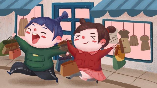 쇼핑 구매 사기 어린 여자 친구 삽화 소재