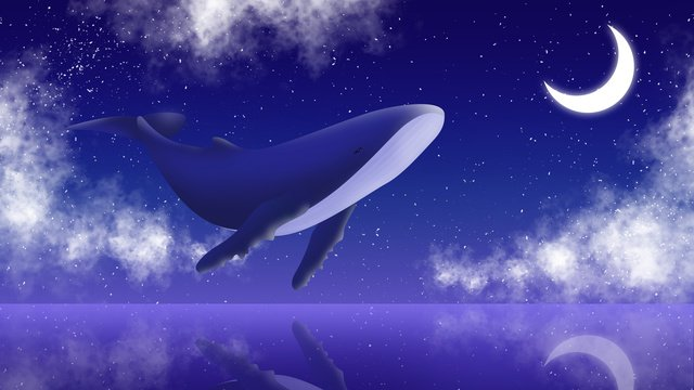 Cartoon dreamy moon with whale illustration, Cartoon, Hand Painted, Moon illustration image