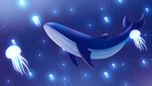 Cartoon dreamy seabed jellyfish whale illustration, Cartoon, Whale, Jellyfish illustration image