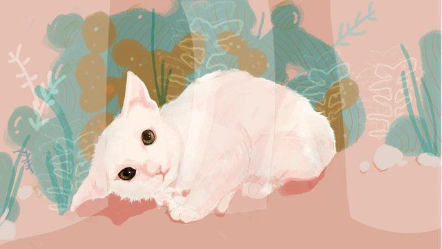 Hand drawn cat illustration, Cat, Hand Painted, Illustration illustration image