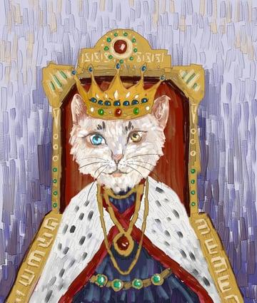 猫の模造油絵ヨーロッパの王動物イラスト絵画子供装飾画 イラスト画像