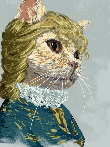 元のイラスト猫の女性の悲しみの印象図 イラスト画像
