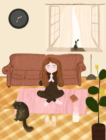 ヨガの女の子を練習します イラストレーション画像 イラスト画像