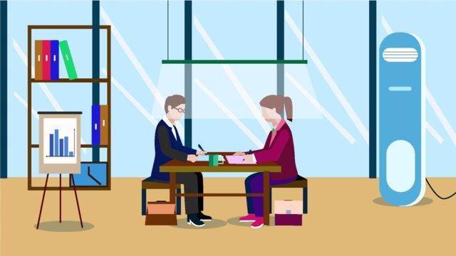 더블 회의 문자 장면 평면 스타일의 일러스트 레이션 삽화 소재