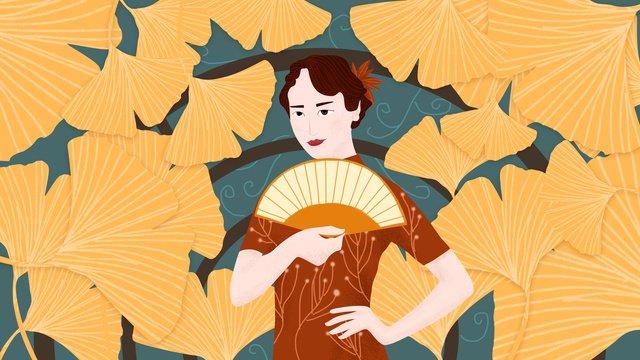 Original illustration - cheongsam woman classical charm, Cheongsam, Classical, Woman illustration image