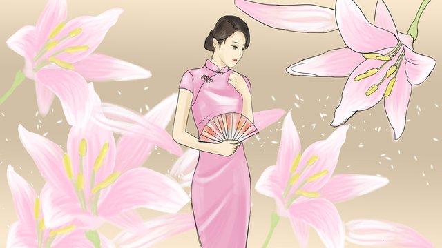Cheongsam woman lily flower illustration, Cheongsam, Woman, Fan illustration image