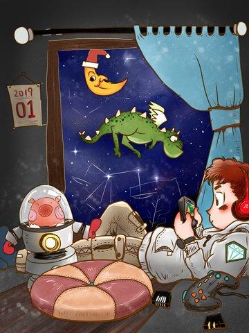 子供時代のファンタジー イラストレーション画像