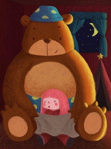 child room night Starry sky, Light, Warm, Cute Girl illustration image