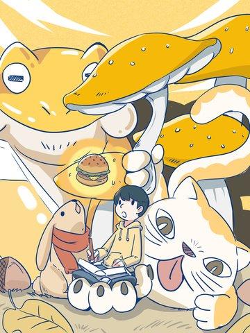 幼年期のファンタジー悪役の本では、それはハンバーガーになりました。 イラストレーション画像 イラスト画像