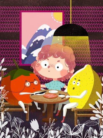 フルーツベビーディナーと子供時代のファンタジーの女の子 イラストレーション画像 イラスト画像