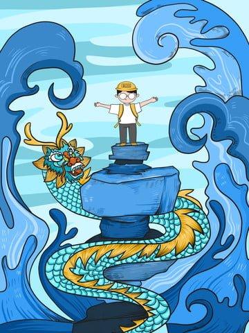 ドラゴンかわいいイラストの子供時代のファンタジー少年 イラスト画像