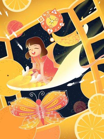 元の手描きイラスト魚幼年期ファンタジー少女 イラストレーション画像 イラスト画像