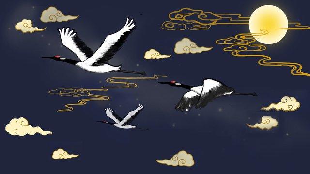 中国風の古代風の妖精クレーン縁起の良い雲月中秋 イラスト素材 イラスト画像