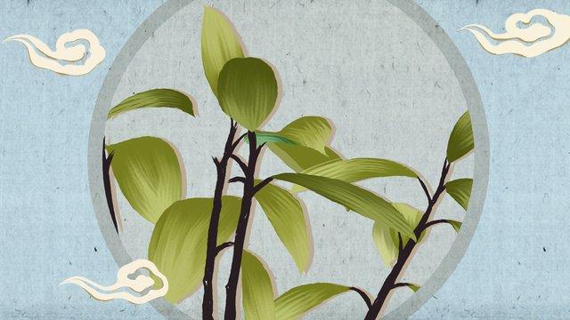 中国風の静物画植物手描きポスターイラスト壁紙 イラスト素材 イラスト画像