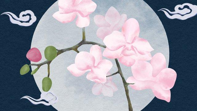 中国風の静物の百花のアゲハチョウの蘭の手描きポスターの壁紙 イラスト素材
