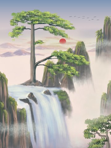 chinese style landscape painting huangshan yingke songmeimei cure tourism llustration image