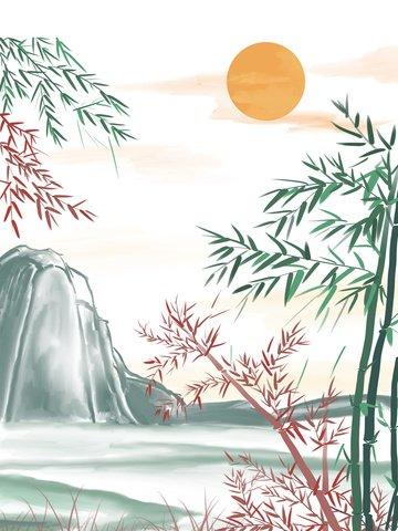 中國風水墨插畫山水畫竹子 插畫素材 插畫圖片