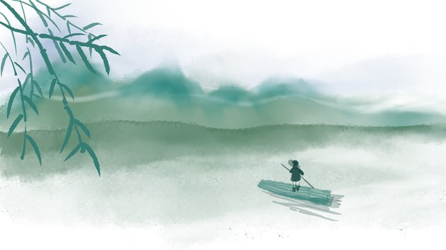 中華風インク、江南、緑の丘、緑の水、イラスト イラスト素材