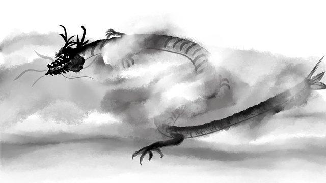 中国の水墨の風の陸に上がった竜は雲をかすめて雲をかすめます中国風  水墨  雲霧にたつ PNGおよびPSD illustration image