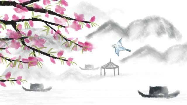 中国風桃の花 イラスト素材 イラスト画像