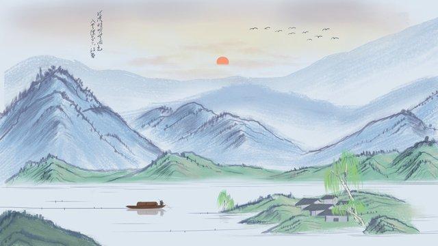 中國風水墨插畫意境山水文雅水墨節氣插畫 插畫素材