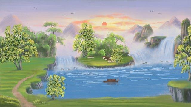 中國風山水墨畫國畫山河黃河落日傳統文化 插畫素材