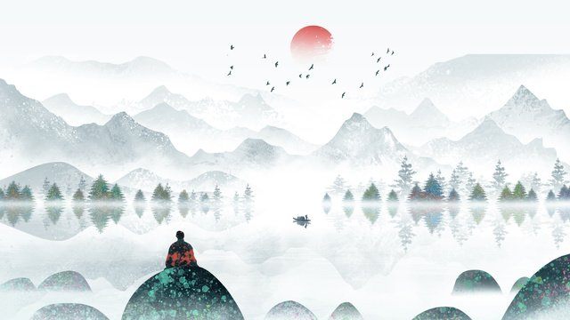 Chinese style ink landscape beautiful retro watercolor llustration image