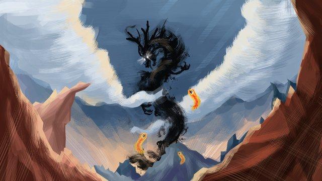 中国風かっぱイラスト中国風  シーン  壁紙 PNGおよびPSD illustration image