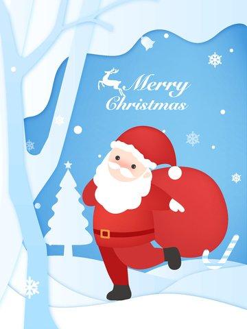 giấy minh họa gốc cắt gió nhẹ màu xanh giáng sinh hạnh phúc santa Hình minh họa