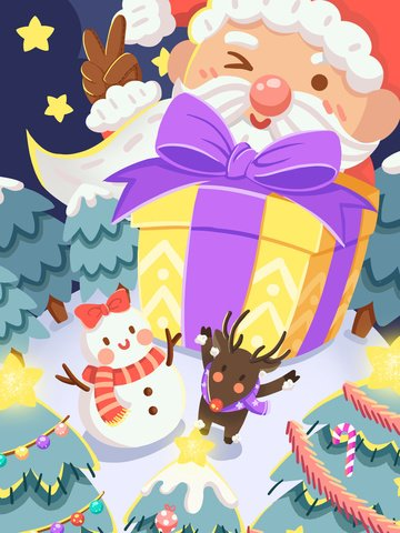 クリスマスサンタの大きな贈り物と鹿の雪だるまはクリスマスを祝います イラスト素材 イラスト画像