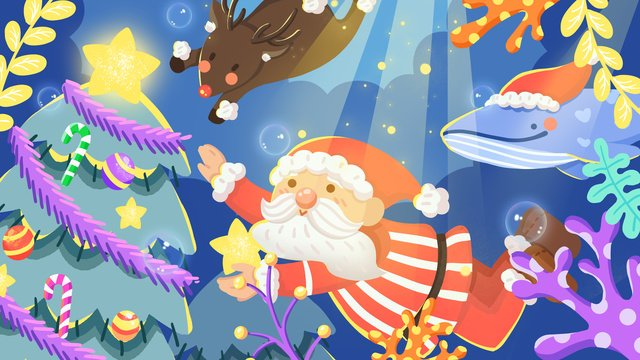 木の輝く星を探して海の下でクリスマスサンタクロース イラスト素材