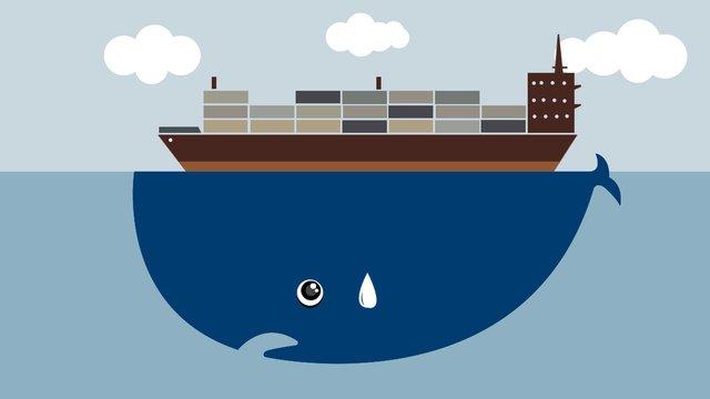 Sea whale flat wind illustration, Coastal, Whale, Cargo Ship illustration image