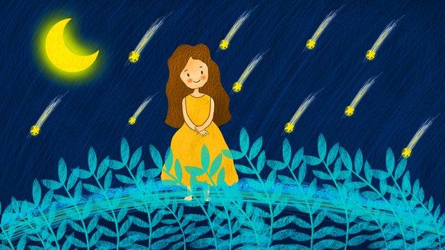 月光オリジナル手描きイラストの下の月光少女のコイルイラスト イラストレーション画像