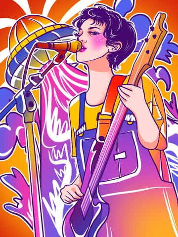 Colorful graffiti playing guitar singing girl illustration country singer, Colorful And Colorful, Graffiti, Graffiti Wind illustration image