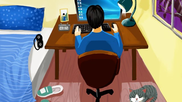 Mens home life illustration working in the room at night llustration image illustration image