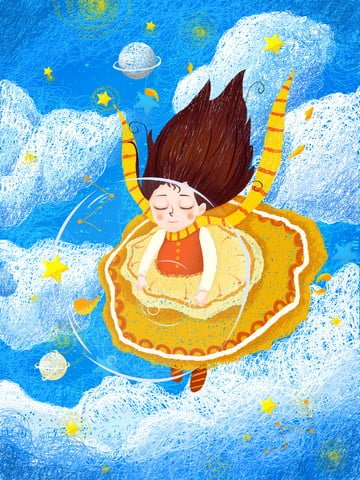 coil impression cosmic journey fantasy girl starry sky soaring original illustration illustration image