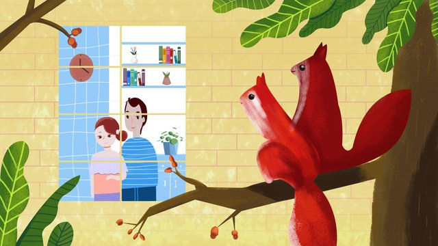 small fresh valentines day couple looking out the window original illustration llustration image