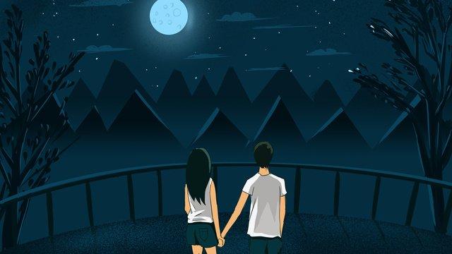couple on the top of mountain under moonlight enjoying night view tanabata illustration poster llustration image illustration image