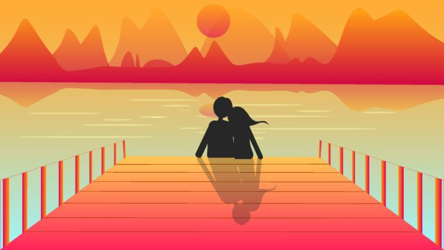 Green valentine bên bờ biển minh họaCặp  đôi  Ngày PNG Và Vector illustration image