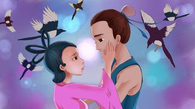 Ilustração de dia dos namorados menina qixi niu lang weaverCowherd  E  Tecelão PNG E PSD illustration image