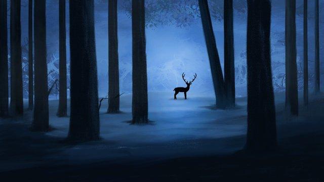 森を癒し、鹿を見て、夜の森、おやすみ、こんにちは、9月、こんにちは イラストレーション画像
