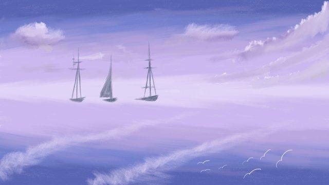 癒し系印象の油絵風海航行イラスト装飾画 イラスト素材 イラスト画像