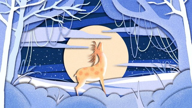 Healing system beautiful forest and deer paper-cut wind see good night hello, Cure, Paper-cut Wind, Forest And Deer illustration image