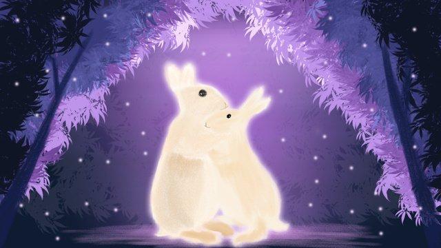 Healing romantic valentines day hug rabbit goodnight illustration poster llustration image